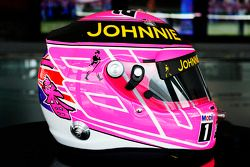 Pink-farbener Helm für Jenson Button, McLaren, als Hommage an seinen Vater John Button