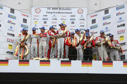 Podium: race winners Klaus Abbelen, Sabine Schmitz, Patrick Huisman, Frank Stippler, second place Ad