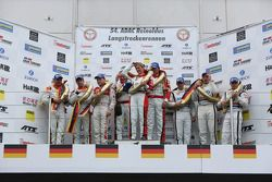 Podium: race winners Klaus Abbelen, Sabine Schmitz, Patrick Huisman, Frank Stippler, second place Ad