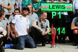 Nicolas Hamilton, at the Mercedes AMG F1 celebrations for brother and race winner Lewis Hamilton, Mercedes AMG F1