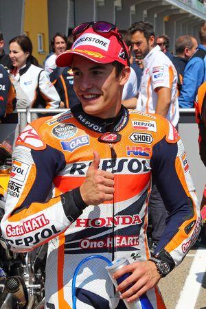 L'autore della pole Marc Marquez del Repsol Honda Team