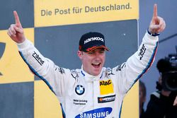 Podium: race winner Maxime Martin celebrates