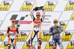 Podium: race winner Marc Marquez, second place Dani Pedrosa, third place Jorge Lorenzo
