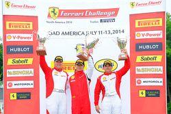 法拉利挑战赛领奖台:冠军刘伟,第二名克里斯·鲁德,第三名卡洛斯·孔德