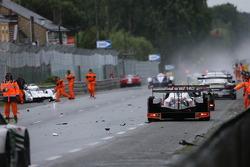 Aftermath of the crash of the #3 Audi Sport Team Joest Audi R18 E-Tron Quattro: Filipe Albuquerque, Marco Bonanomi, Oliver Jarvis