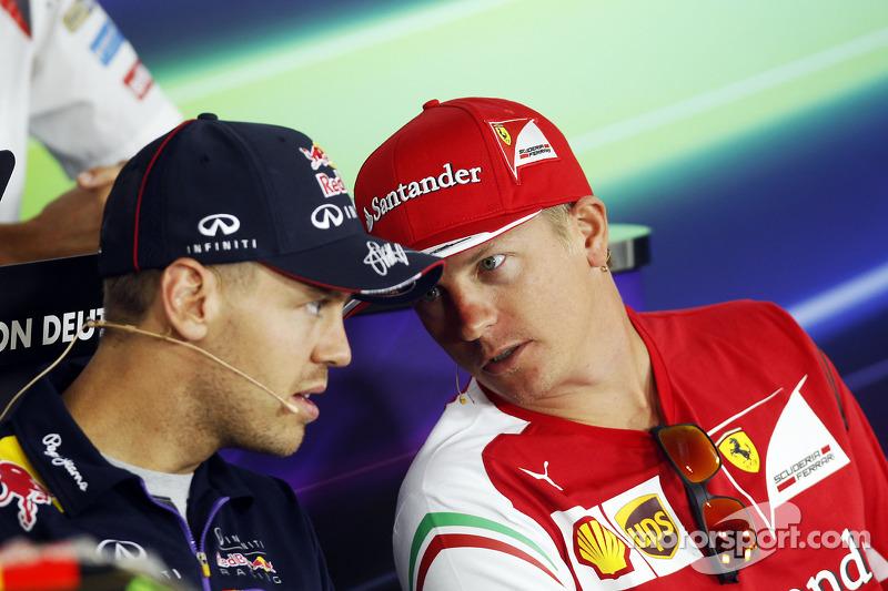 (L to R): Sebastian Vettel, Red Bull Racing and Kimi Raikkonen, Ferrari in the FIA Press Conference