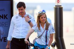 Susie Wolff, Williams Development Driver with her husband Toto Wolff, Mercedes AMG F1 Shareholder and Executive Director