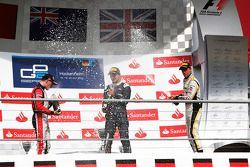 Podium: race winner Mitch Evans, second place Stoffel Vandoorne, third place Jolyon Palmer