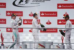 Podium: race winner Nico Rosberg, second place Valtteri Bottas, third place Lewis Hamilton