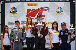 GT-A Class Winners Podium: race winner Michael Mills, second place Dan Knox, third place Henrik Hedman