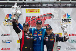 GT-A Winners Podium: Michael Mills (left, second), Marcelo Hahn (center, first), Henrik Hedman (right, third)