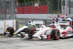 Josef Newgarden, Sarah Fisher Hartman Racing and Juan Pablo Montoya, Penske Racing Chevrolet