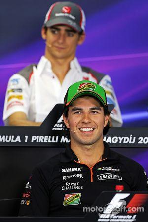 Sergio Perez, Sahara Force India F1 and Esteban Gutierrez, Sauber in the FIA Press Conference