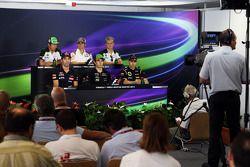 The FIA Press Conference: Kamui Kobayashi, Caterham; Esteban Gutierrez, Sauber; Marcus Ericsson, Cat