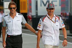 Jenson Button, McLaren with Adrian Sutil, Sauber