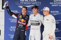 I primi tre delle Qualifiche nel Parco Chiuso sono Sebastian Vettel, Nico Rosberg e Valtteri Bottas