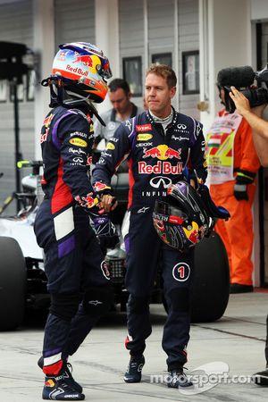 Daniel Ricciardo, Red Bull Racing and team mate Sebastian Vettel, Red Bull Racing in qualifying parc ferme