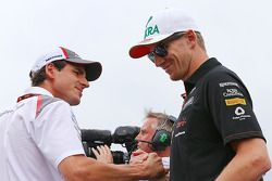 Adrian Sutil, Sauber and Nico Hulkenberg, Sahara Force India F1 on the drivers parade.
