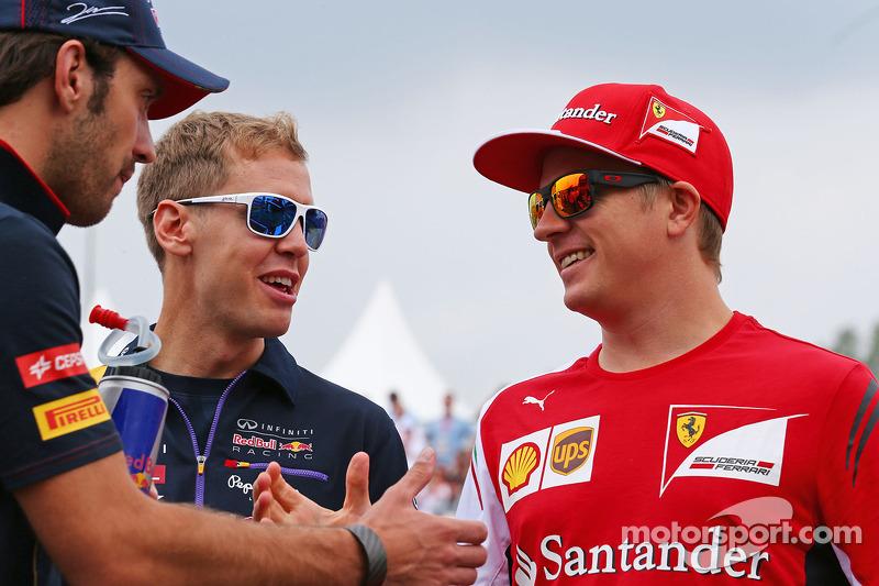Jean-Eric Vergne, Scuderia Toro Rosso; Sebastian Vettel, Red Bull Racing; e Kimi Raikkonen, Ferrari