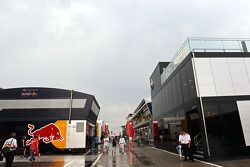 The paddock after a heavy storm before the start of the race.