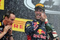 Daniel Ricciardo, Red Bull Racing celebrates with the champagne on the podium