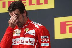 Second placed Fernando Alonso, Ferrari on the podium