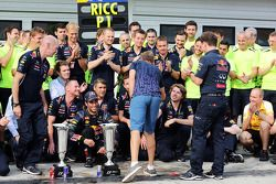 Sebastian Vettel, Red Bull Racing celebrates with the team victory for Daniel Ricciardo, Red Bull Racing