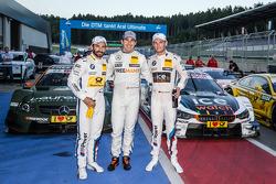 Pole position Robert Wickens, HWA DTM Mercedes AMG C-Coupé celebra com Timo Glock, BMW Team MTEK BMW M4 DTM e Marco Wittmann, BMW Team RMG BMW M4 DTM