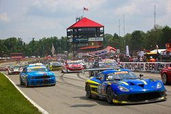 PWC GT Race Start with trackside signs in the air