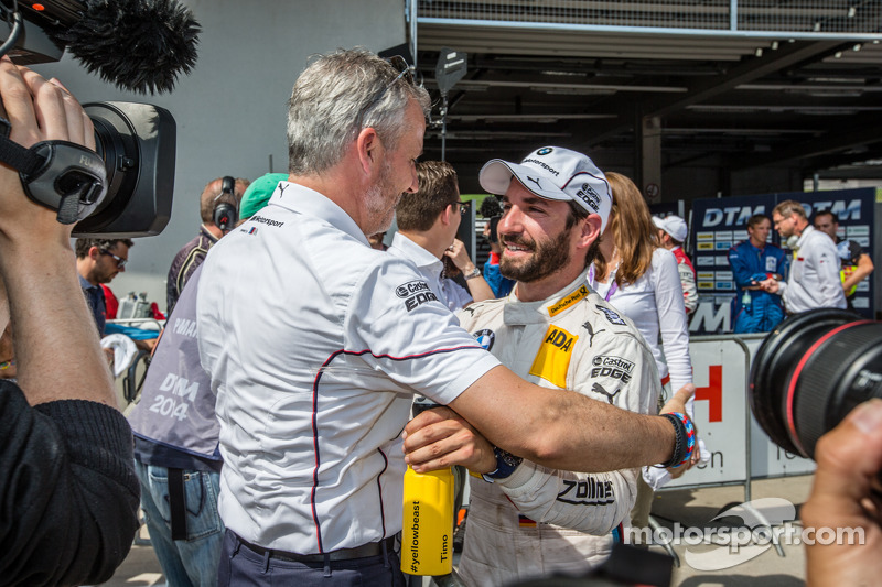Parc fermé: Timo Glock, BMW Team MTEK BMW M4 DTM celebrates with BMW Motorsport director Jens Marquardt