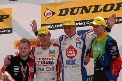 Race winner Jason Plato, second place Colin Turkington, third place Matt Neal