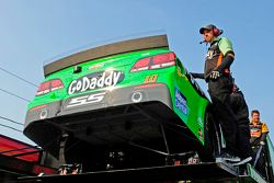 Stewart-Haas Racing crew pulls the spare car for Danica Patrick