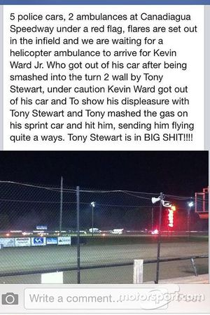 Relato de um espectador sobre o incidente entre Tony Stewart e Kevin Ward Jr.