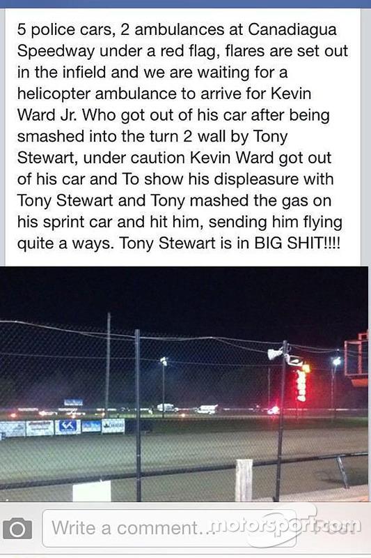 Relato de um espectador sobre o incidente entre Tony Stewart e Kevin Ward Jr.