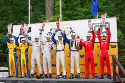 Class winners podium: GTD winners Dane Cameron, Markus Palttala, PC winners Mirco Schultis, Renger v