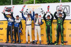 P class podium: winners Joao Barbosa, Christian Fittipaldi, second place John Pew, Oswaldo Negri, third place Scott Sharp, Ryan Dalziel