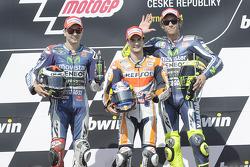 Race winner Dani Pedrosa, second place Jorge Lorenzo, third place Valentino Rossi