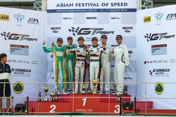 Sepang Race 2 Podium: Kane Jiang, Max Wiser, Keita Sawa, Mok Weng Sun, Anthony Liu, Davide Rizzo