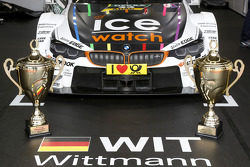 Trophies of Marco Wittmann, BMW Team RMG BMW M4 DTM and his Team