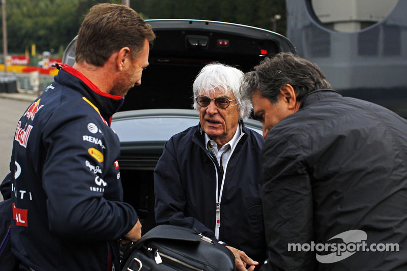 (L to R): Christian Horner, Red Bull Racing Team Principal with Bernie Ecclestone, and Pasquale Latt