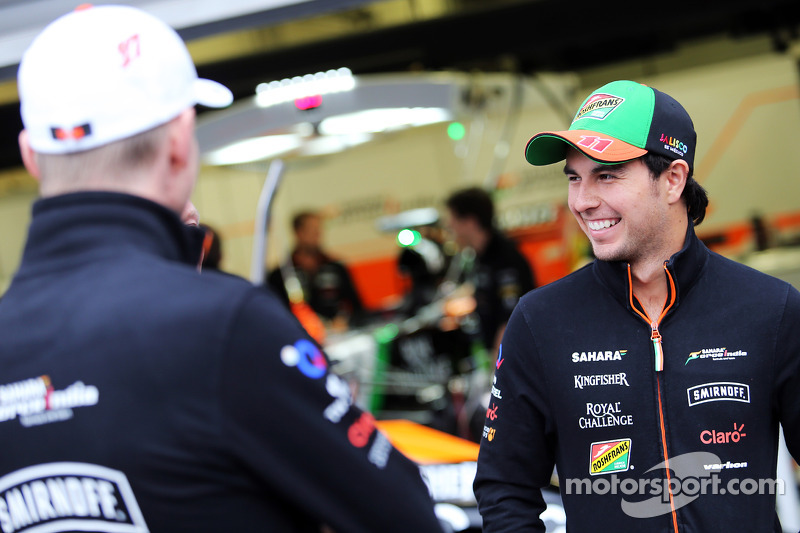 (L to R): Nico Hulkenberg, Sahara Force India F1 with team mate Sergio Perez, Sahara Force India F1