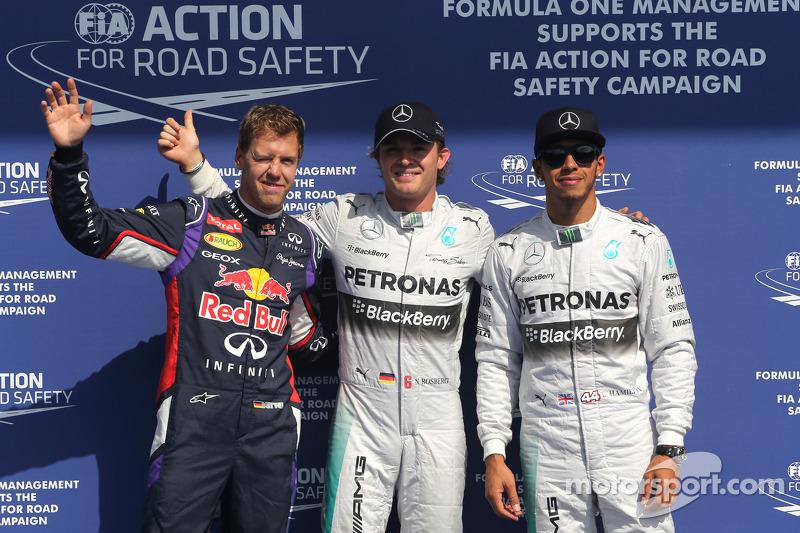 Sebastian Vettel, Red Bull Racing, Nico Rosberg, Mercedes AMG F1 Team e Lewis Hamilton, Mercedes AMG F1 Team