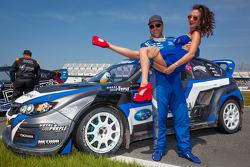 #11 Subaru Rally Team USA Subaru WRX STi: Sverre Isachsen with the Red Bull girl