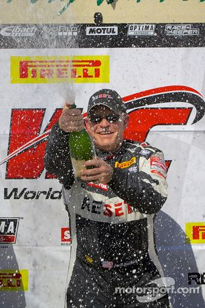 GTS Winner Jack Baldwin celebrates with champagne