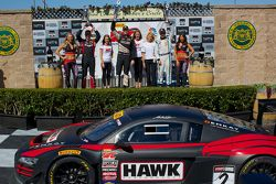 GT Winners Podium: Ryan Dalziel (second, left), Mike Skeen (first, center), Butch Leitzinger (third,
