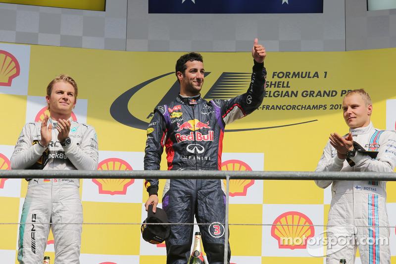 2014: 1. Daniel Ricciardo, 2. Nico Rosberg, 3. Valtteri Bottas