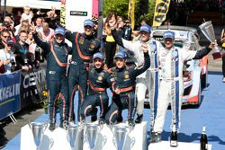 Podium: winners Thierry Neuville, Nicolas Gilsoul, second place Daniel Sordo, Marc Marti, third place Andreas Mikkelsen and Ola Floene