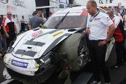 hasarlı #911 Porsche Kuzey Amerika Porsche 911 RSR: Nick Tandy, Richard Lietz