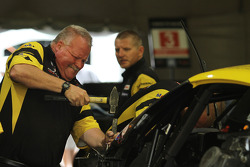 Corvette crew members repair the #3 Corvette