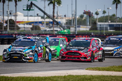 Largada: #43 Hoonigan Racing Division Ford Fiesta ST: Ken Block e #07 SH Racing Rallycross Ford Fies